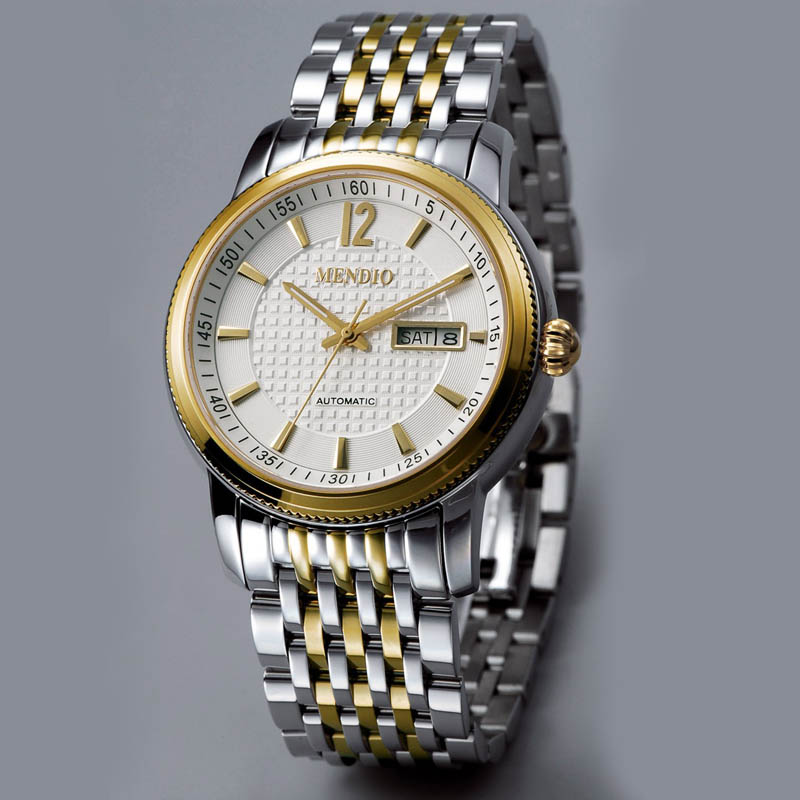 MENDIO 7 Years Brands Top Luxury Famous Watch Gold Yellow Gold Case Sliver Stainless Steel Band