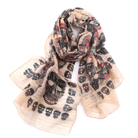 High Quality Ghosts Classic Scarf Color Skull Head Seaside Holiday Sunscreen Air Conditioning Shawl Scarf Woman