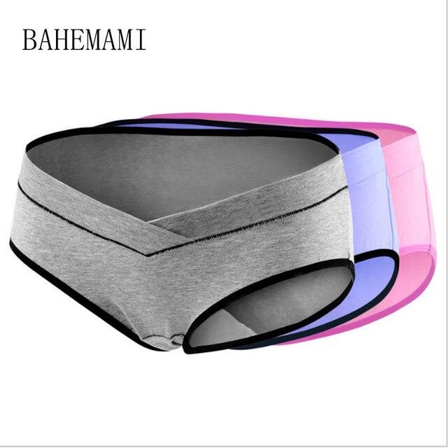 BAHEMAMI 3PCS/Lot cotton Pregnancy Maternity Women Underwear Panties pregnant women clothes U-shaped low-Waist Briefs