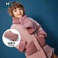 MiniBalabala winter Katoenen Jas mode winter jassen 2018 nieuwe baby jassen thicken faux fur jassen voor kinderen bovenkleding 2- 7 T