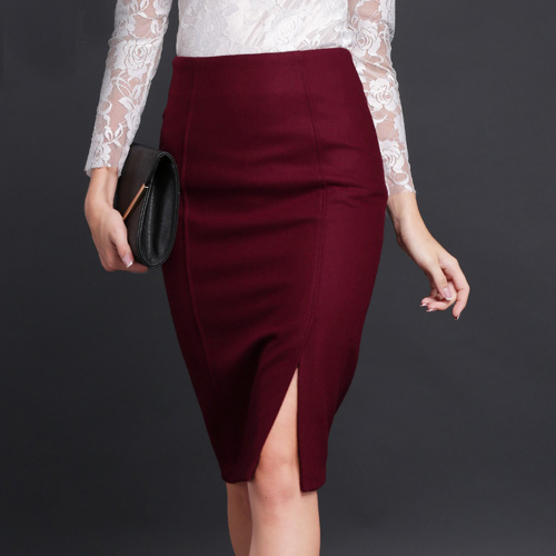 European Style Fashion Skirts Women Plus SIze Pencil Skirt High Waist Burgundy Woolen SKirt Spring Autumn Knee-Length Skirts