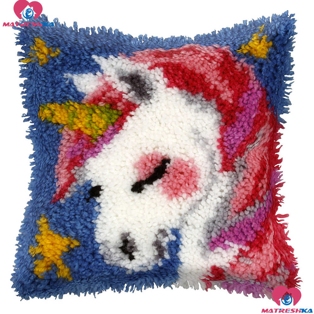 Latch Hook Cushion  Kit Pillow Mat DIY Crafts Unicorn Pattern Cross Stitch Needlework set Crocheting Cushion embroidery pillow
