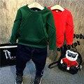 Conjuntos de roupas crianças menina meninos casaco hoodies O-pescoço + olhos bolsos ternos de roupas de jeans 2 Pcs blusa de inverno além de veludo denim calças