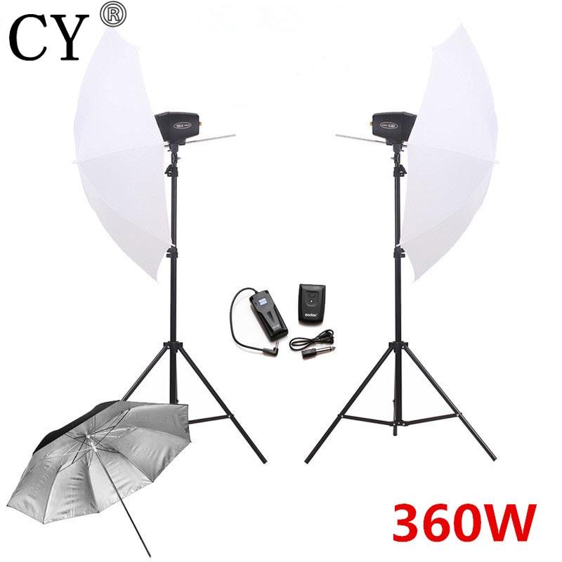 CY Photography Studio Flash Lighting Kits 360w Flash Light+Umbrella+Stand+Trigger Receiver Photo Studio Set Godox K-180