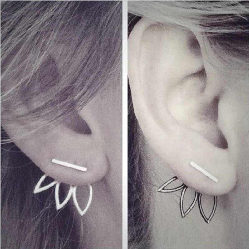 Fashion Design Earrings for Women Hollow Out Leaf Flower Stud Earrings Simple Metal Ear Jewelry