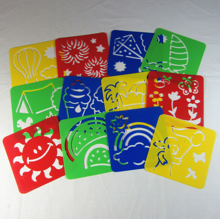 12 designs set 128128006cm kids plastic painting stencil template childrens drawing - Kids Drawing Stencils