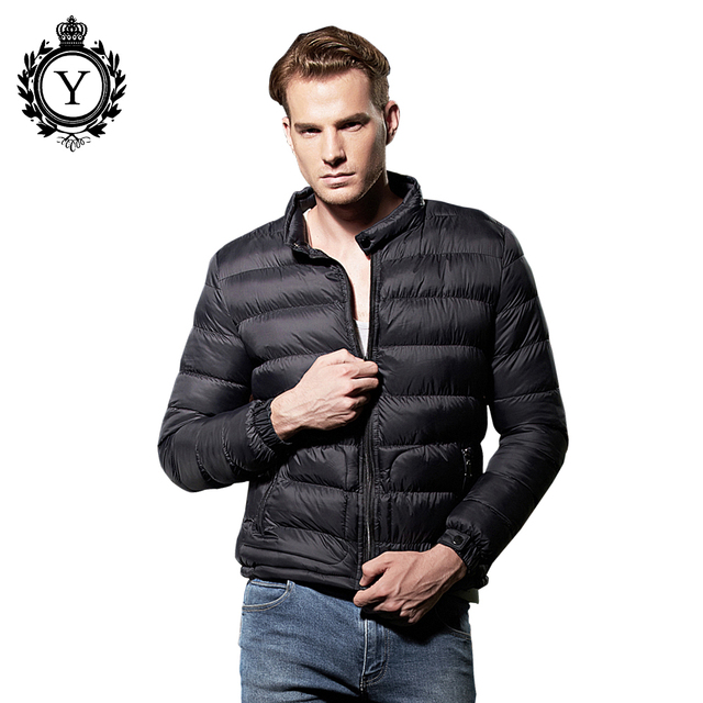 COUTUDI Mens Winter Jackets and Coats New Fashion Solid Black Short Warm Windproof Waterproof Jacket Ultra Light Down Jacket Men