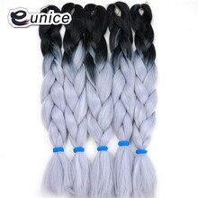 Синтетические плетение jumbo косы волосы 24 inch 100 г/шт. Ombre крючком расширения черный + серебро серый Kanekalon волокна Юнис волос