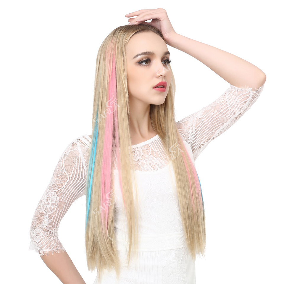 20 Long Straight Fake Colored Hair Extensions Clip In Highlight