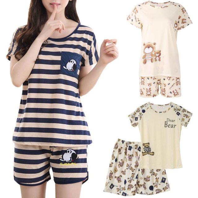 Năm 2018 Thời Trang Mới 2 Chiếc Áo Bé Gái Áo Hoạt Hình Cổ Tròn Tay Ngắn Cotton nữ Bộ Nhà Váy Ngủ Sleepsuit