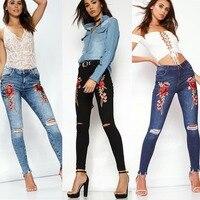2018 New Korean S Pencil Pants Women Hole Embroidery Flower Long Jeans Pants Slim Pencil Trousers