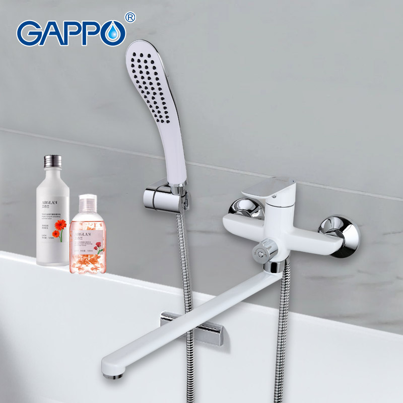 gappo 1set white bath shower system faucet brass surface spray painting green shower head kit chuveiro
