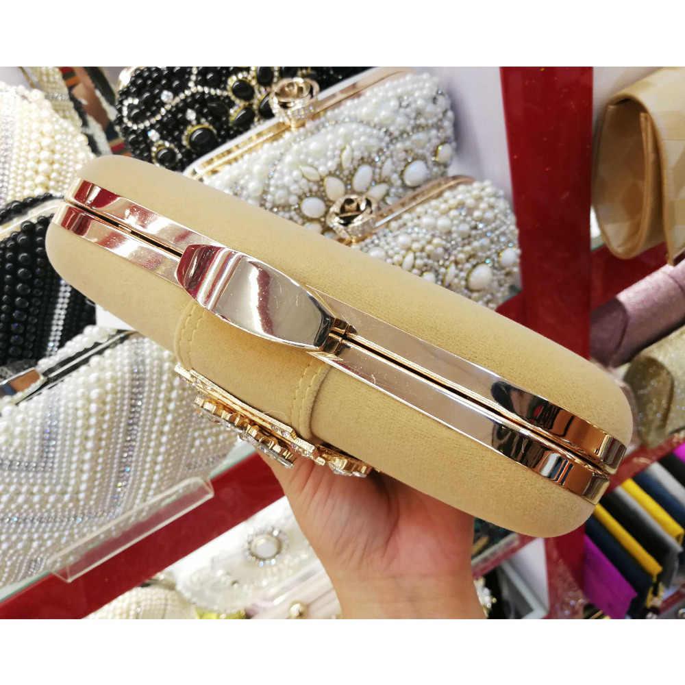 Fashion Beludru Kopling Malam Tas Pesta Wanita Dompet Emas Merah Hitam Biru Wanita Messenger Bags Crystal Wanita Kopling Tas Z93