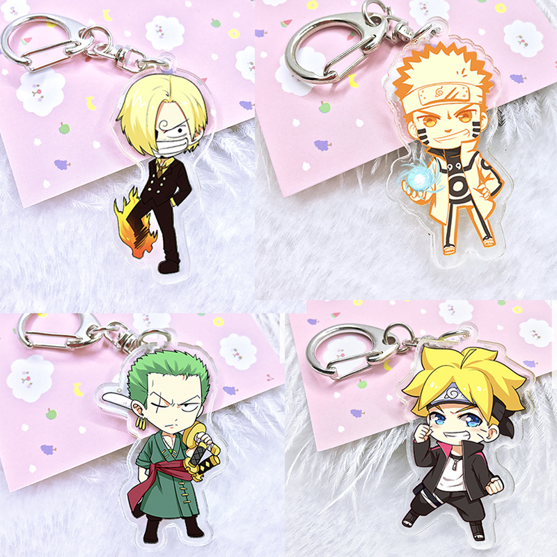 Anime <font><b>One</b></font> <font><b>Piece</b></font> <font><b>Luffy</b></font> Zoro acrylic keychain Naruto Figure Sasuki Kakashi cartoon double-sided pendant Keyring for kids party image
