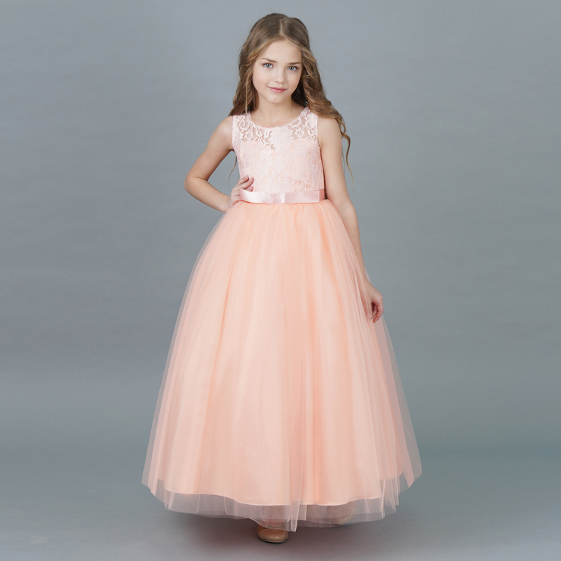 Children Girl Dress 2018 New Summer Brand Girls Clothes Lace Ball Design Kids Girls Party Dresses For Teenagers Long Tulle Gown girls dresses 2017 summer new lace speaker sleeves children dress cute embroidered girl dress floral child ball gown party dress