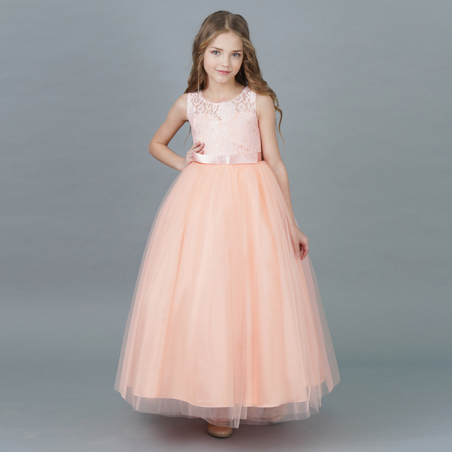 Children Girl Dress 2018 New Summer Brand Girls Clothes Lace Ball Design  Kids Girls Party Dresses For Teenagers Long Tulle Gown aa4ad86ef57e