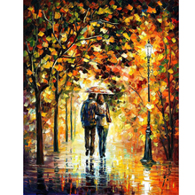 Hand Painted Abstract Landscape Autumn Walk Knife Modern Art Oil Painting Canvas Art Living Room hallway Artwork Fine Art