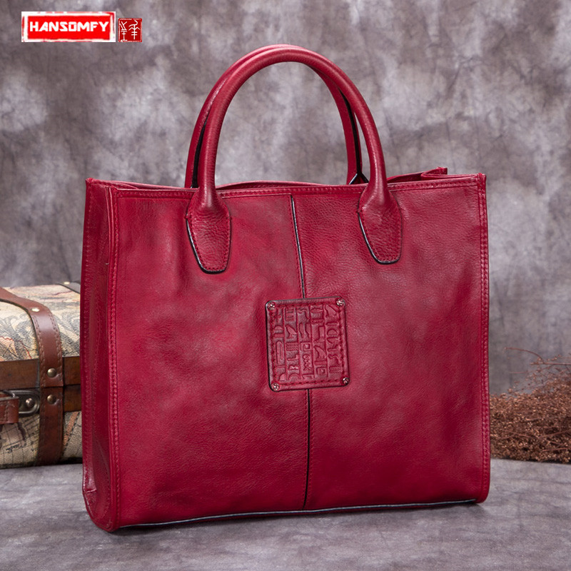 Luxury fashion Women handbags Retro ladies handmade genuine leather female first layer leather Messenger shoulder bags fctossr 2018 new retro genuine leather women handbag first layer of leather shoulder bag handmade leather diagonal female bags