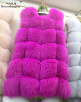 Linhaoshengyue 80CM long natural real fox fur vest