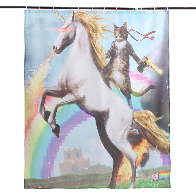 NEW Cartoon Funny Horse And Cat Polyester Fabric Waterproof Shower Curtain 150x180cm Bathroom Decor Gift
