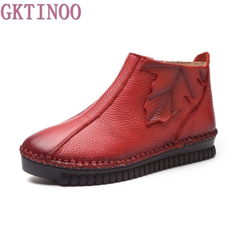 New Autumn Winter Women Fashion Vintage Genuine Leather Shoes Female Ankle Boots Woman Zip Casual Boots Plus Size 35-43