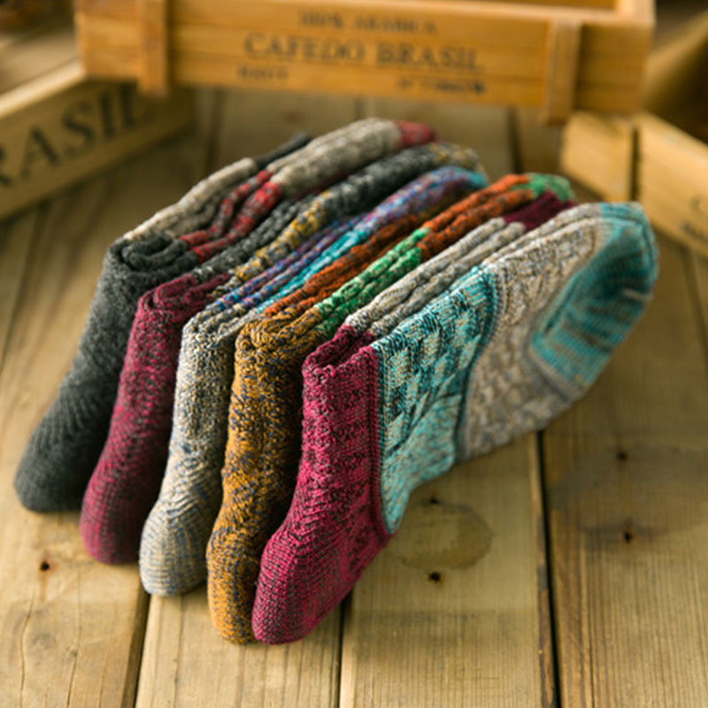 stripe Hit-color wool Men socks Harajuku retro casual business winter warm socks sewing fashion socks deodorant breathable socks
