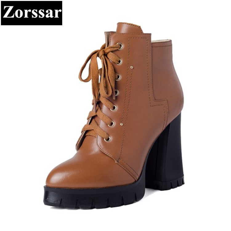 {Zorssar} 2017New Winter Ladies shoes Fashion Real leather Women Ankle Boots High heels Platform Lace up Womens Motorcycle boots zorssar autumn ladies shoes wedge high heels women platform pumps fashion casual lace up genuine leather suede womens shoes