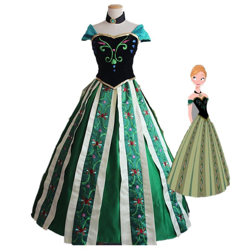 Princess Anna Dress Cosplay Costume Coronation Dress Halloween Cosplay Princess Elsa Anna Dress adult women sexy costume