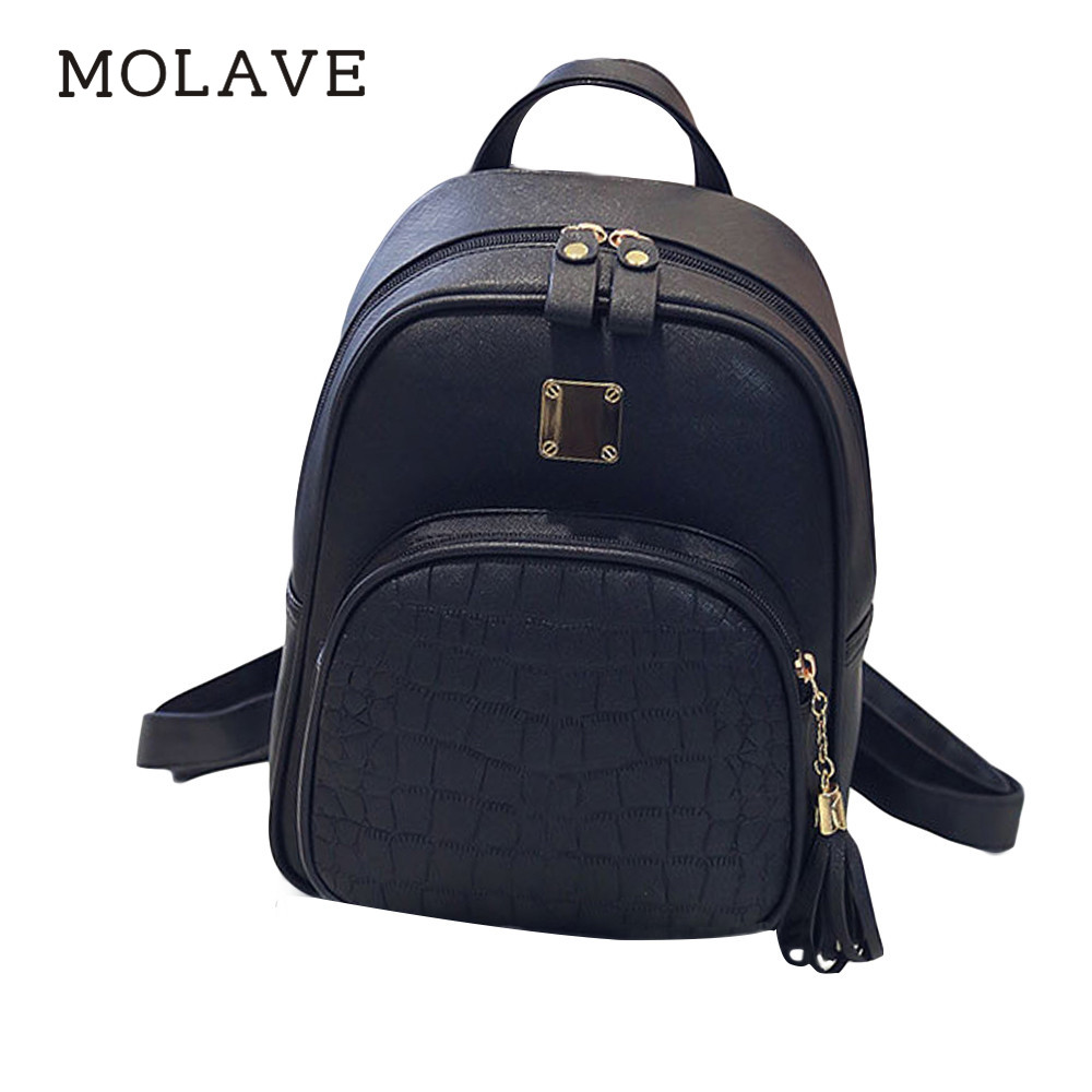 MOLAVE Backpack women backpack Solid backpacks female pu leather Girl School Bag High Quality Ladies Bags zipper Backpacks Jan5