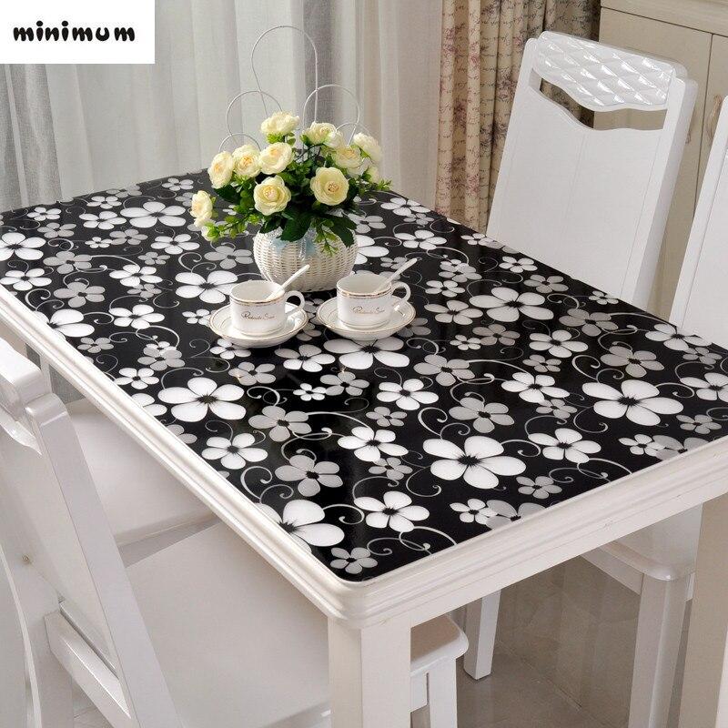 Black Tablecloth Pvc Soft Glass Table Mats Waterproof Anti