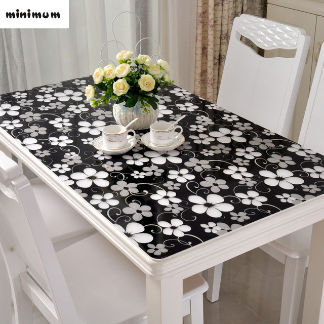 Black Tablecloth Pvc Soft Gl Table Mats Waterproof Anti Hot Coffee Cover Crystal Plate