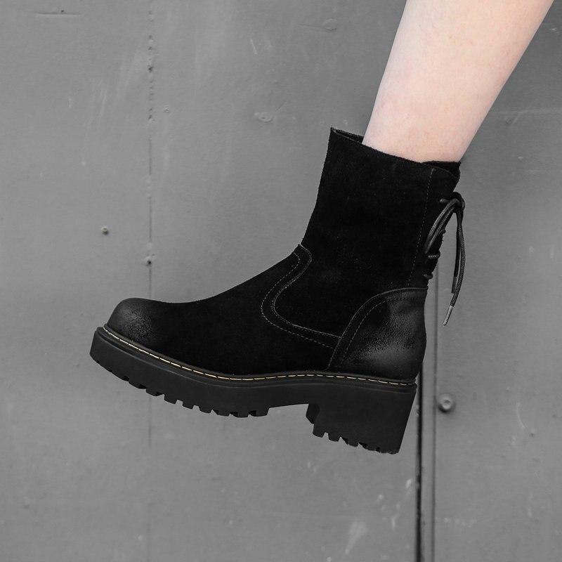 Chaussures 2019 Cuir Dames Bottes Femme forme Printemps Plate Véritable  Noir Lacets Automne Cheville Épais Moto À De Femmes Talons Haute SS4OBwqr c2459adf5813