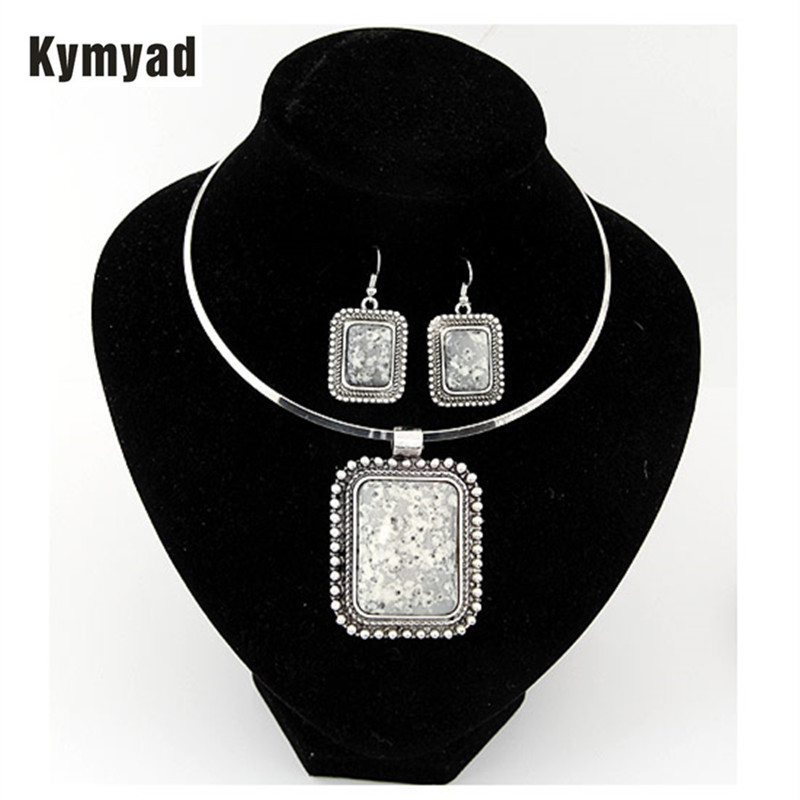 Kymyad Jewelry Sets For Women Silver Color African Resin Stone Beads Jewelry Set Party Accessories Chunky Necklace Earrings Set