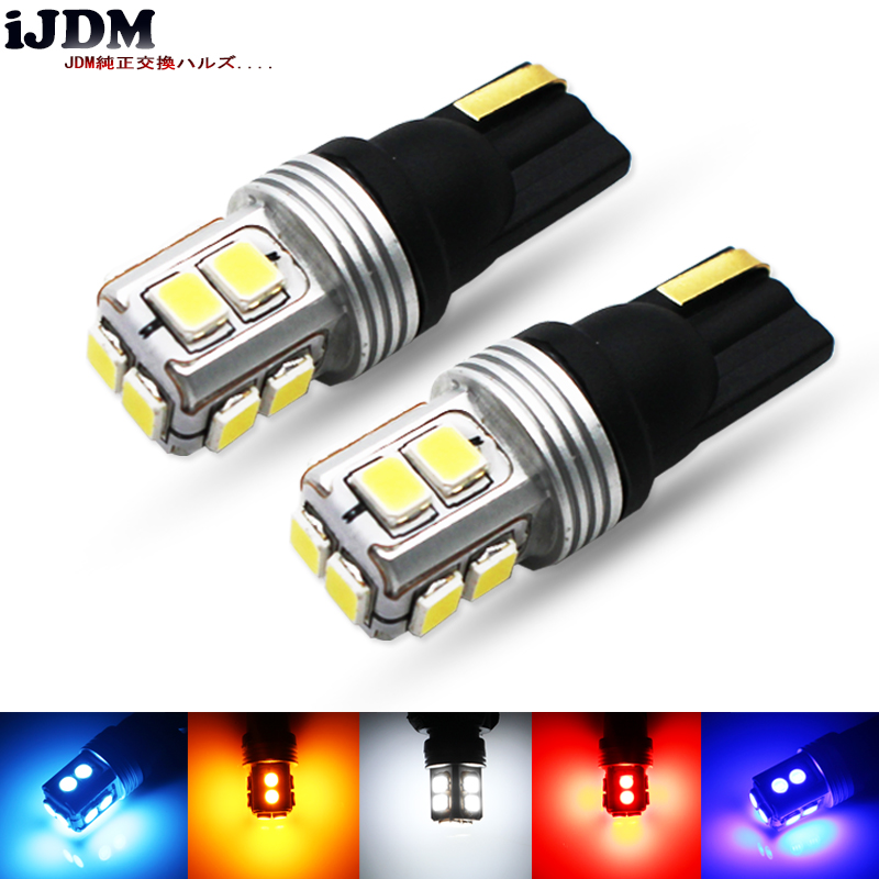 IJDM Car T10 Canbus Error Free W5W 168 194 Car Motorcycle LED Reading Mirror License Plate Width Light 12V White Red Yellw Blue