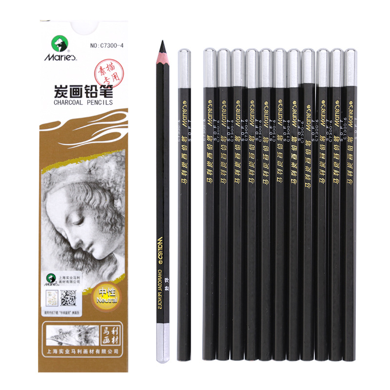 Maries 12Pcs Wood Charcoal Pencil Set Soft Neutral Hard Black Sketch Charcoal For Artist Painting Drawing Pencil Art Supplies