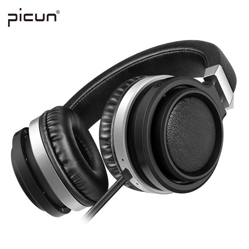 Picun C9 Big Earmuffs Wired Headphones Gaming Stereo Strong Bass Headsets with Mic Volume Control for PC Xiaomi Huawei Phone MP3  new products picun c6 stereo headphones earphone with mic best bass foldable headset for iphone 6s pc mp4 xiaomi huawei meizu