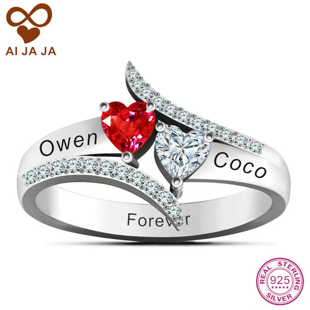 0a7c4aaf37 925 Sterling Silver Love'S Promise Rings Personalized Couples Name Ring  Free Engraving & DIY Two Heart