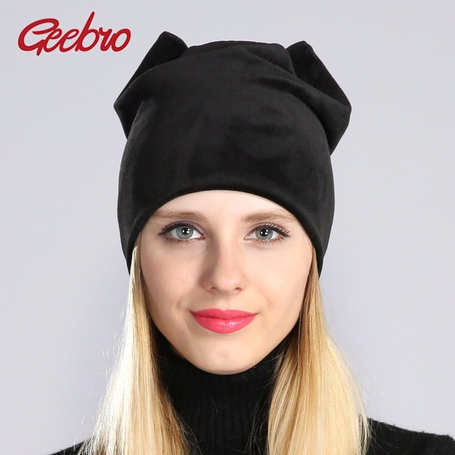 Geebro Winter Women Velour Plaid Earflaps Beanie Hat Spring Warm Knit Beanie  for Women Skullies Female Touca Cap For Girls JS283 e526f810ae