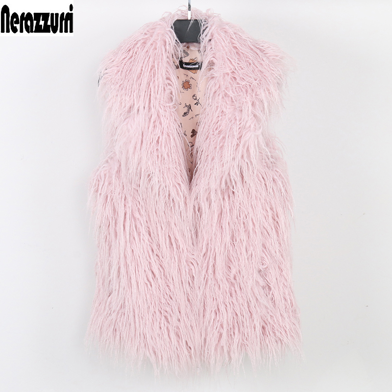Nerazzurri Women Faux Fur Vest Plus Size Short Pink Autumn Fake Fur Coat 2019 Hairy Large Size Sleeveless Jacket 5xl 6xl 7xl 8xl