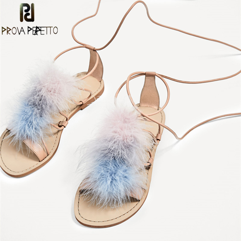 Prova Perfetto New Rome Flat Sandals Feather Shoes Woman Real Fur Leather Sandals Ankle Strap Shoe Lace Women Gladiator SandalsProva Perfetto New Rome Flat Sandals Feather Shoes Woman Real Fur Leather Sandals Ankle Strap Shoe Lace Women Gladiator Sandals