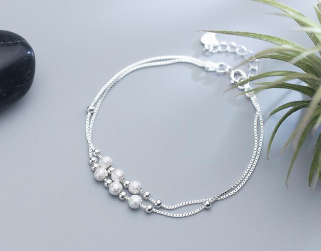 100% Real. 925 Sterling Silber Edlen Schmuck Doppelreihen Gebürstet & Polierte Runde Ball Perlen Geometrische Armband Gtls606