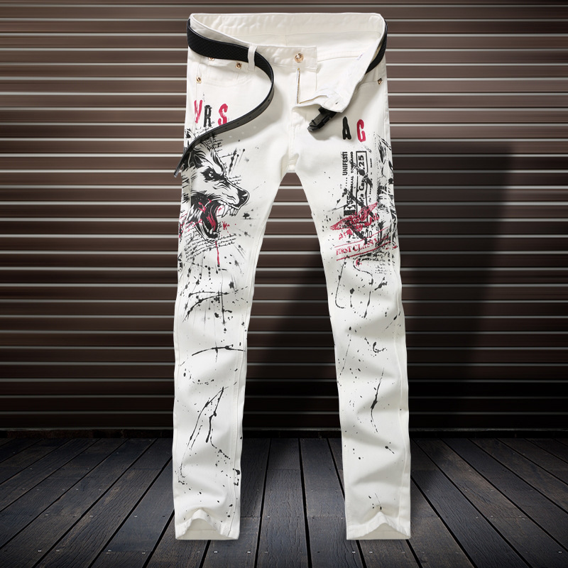 Cool autumn and winter wolf tribe men s Denim Jeans feet color printing slim jeans