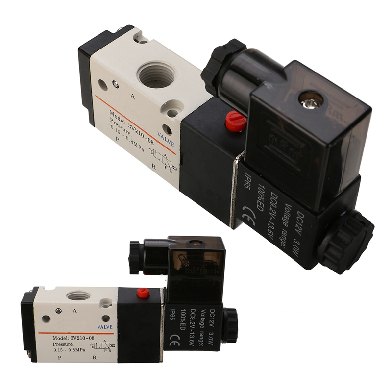 New 1/4'' 3 Way 2 Position Pneumatic Aluminum Solenoid Valves Electric Solenoid Valve Air DIY Hardware Tools DC 12V