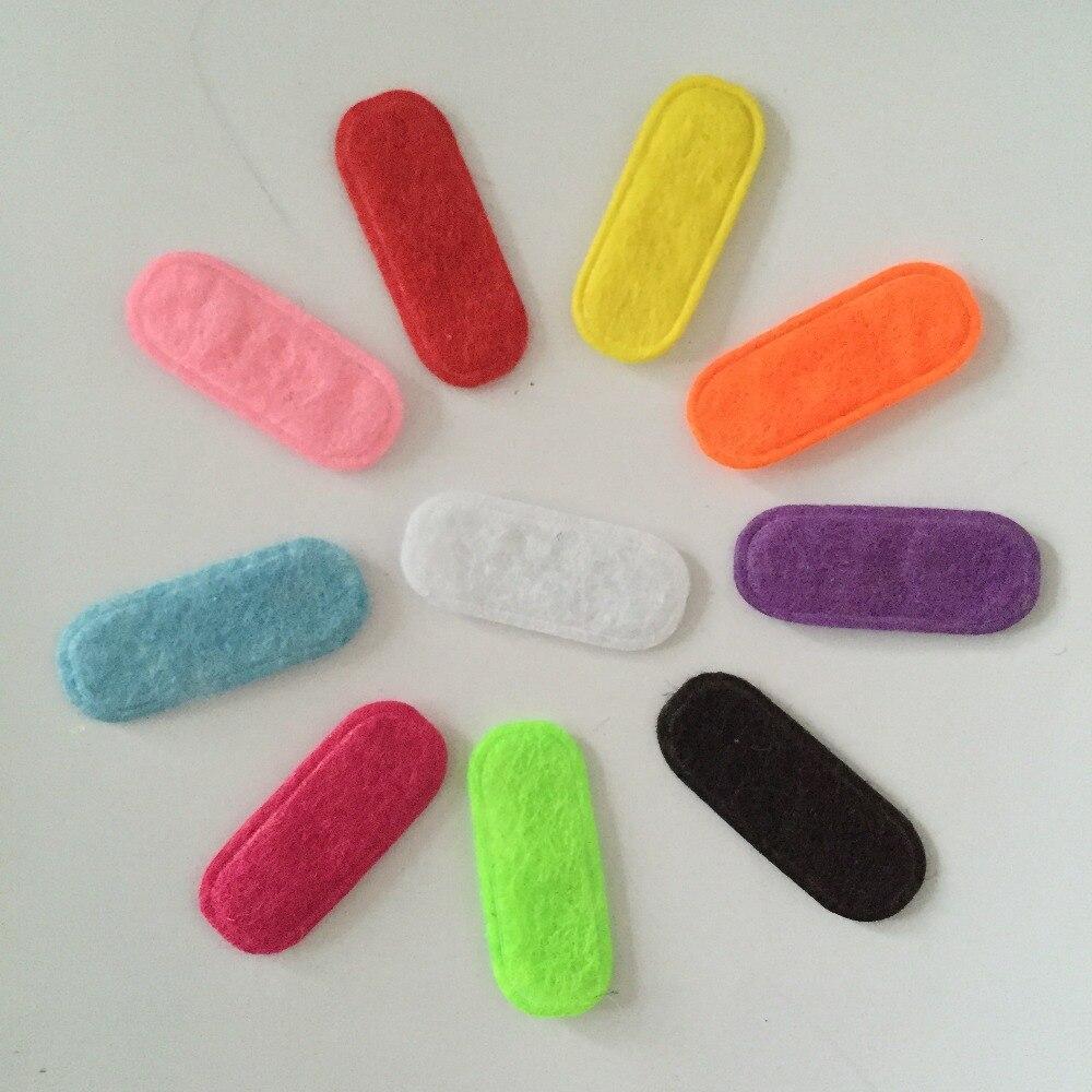 Scrapbook 500pcs 9*23mm mix color padded felt elliptoid shape craft diy appliques clothing decoration A15B*5