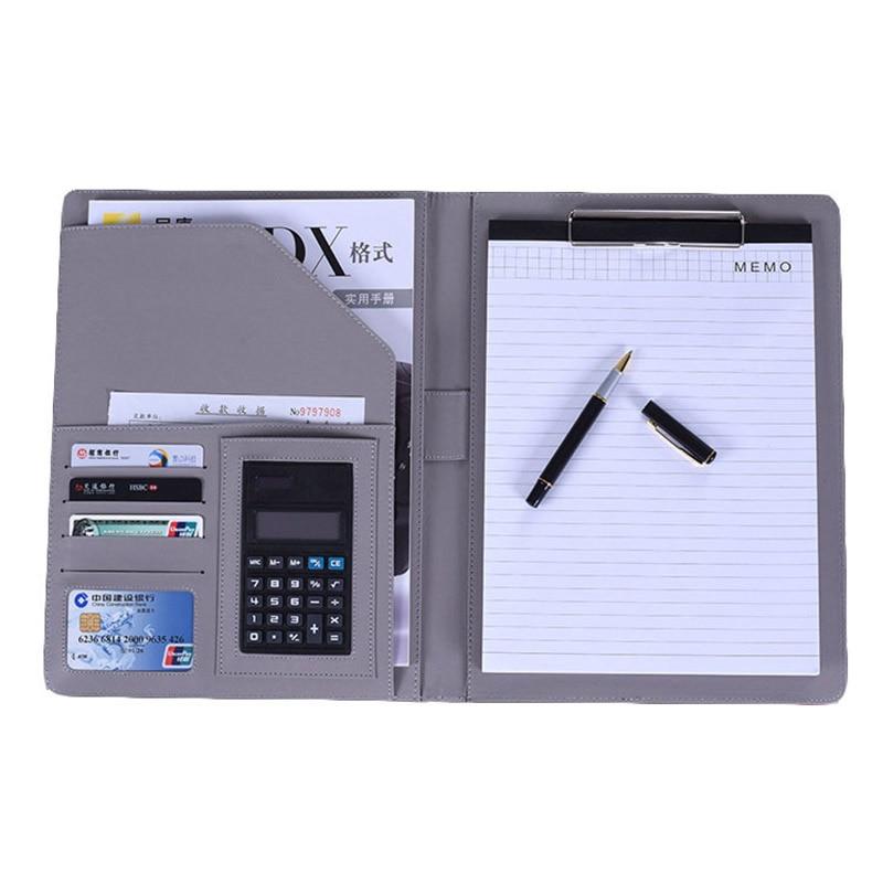A4 File Folder Notebook Briefcase with Calculator Padfolio PU Leather Binder Manager Document Organizer Classeuer Hand Clip File стоимость