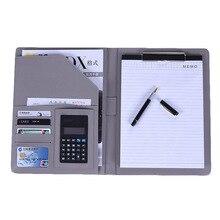 Pasta de arquivo a4 notebook pasta com calculadora padfolio couro do plutônio pasta gerente organizador documento classeuer mão clipe arquivo