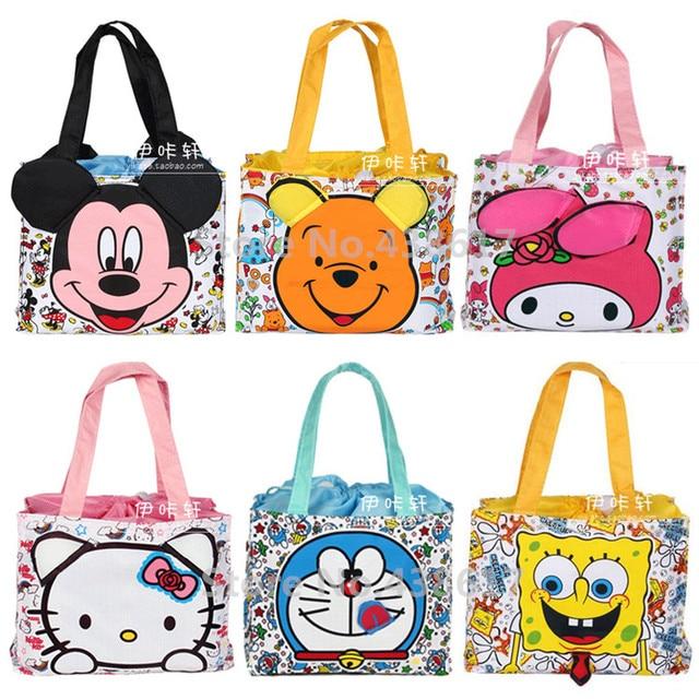 74ccc6c9d141 Mickey Doraemon SpongeBob Hello Kitty My Melody Bear Drawstring Lunch Bag  Box for Women Bolsa Termica Lancheira Lunchbox Bags