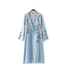 Japanese kimono cardigan beach women cool denim blouse jacket robe long sleeve sexy floral Embroidery femme shirt female girl