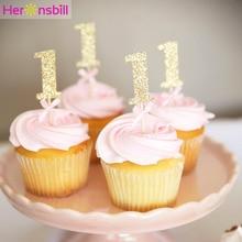 10pcs Glitter กระดาษ 1 Cupcake Topper 1st Happy วันเกิดตกแต่งเด็ก My First One ปีเด็กสาวอุปกรณ์ทองสีชมพู