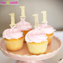 10pcs Glitter Paper 1 Cupcake Topper 1st Happy Birthday Party Decoration Kids My First One Year Baby Boy Girl Supplies Gold Pink